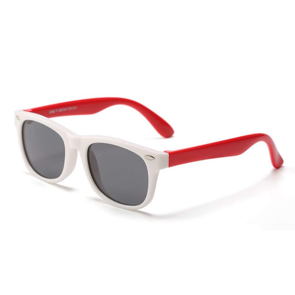 White Red HMILYDYK Unsex Kids UV400 Polarized Sunglasses Rubber Flexible Frame Sunglasses for Kids Ages 3-10