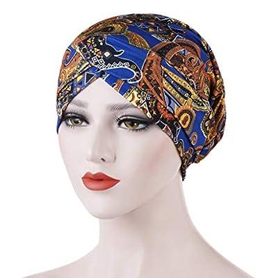 Women Ladies Casual Holiday Soft Beanie,Indian Muslim Wrap Head Turban Cap Cancer Chemo Hat (Blue): Clothing