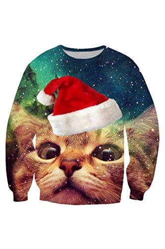 Kisscy Women's Crew Neck Long Sleeve Galaxy Cat Print Ugly Christmas Sweatshirt Sweater Pullover L by Kisscy