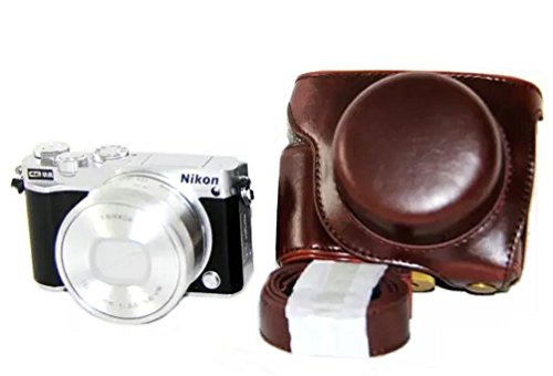 iRunzo Ever Ready PU Leather Camera Case Bag for Nikon 1 J5 Compact Camera with 10-30mm Lens(Dark Brown)