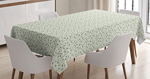 Abstract Tablecloth by Ambesonne, Floral Silhouettes with Abstract Designs Art Nouveau Style Nature Illustration, Dining Room Kitchen Rectangular Table Cover, 60 W X 84 L Inches, Pale (Art Nouveau Dining Room)