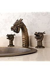 Contemporary Dragon Head Three Holes Two Handles Antique Brass Bathroom Sink Faucet