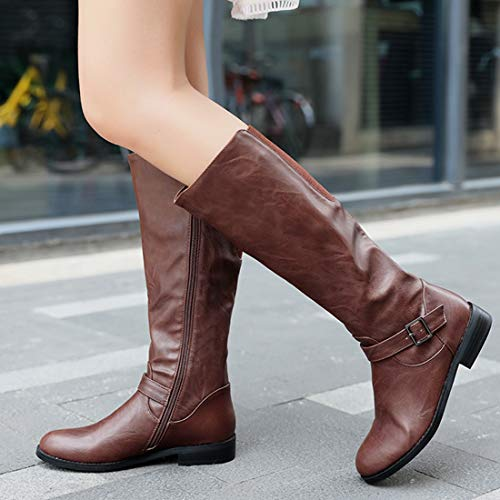up Riding Boots Knee Low Wide High Zip Horse Brown Vitalo Heel Calf Leather Womens q78HP8