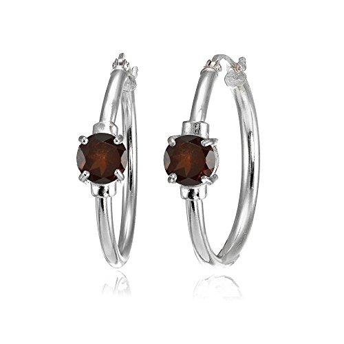 (Sterling Silver Garnet Solitaire 25mm Hoop Earrings )