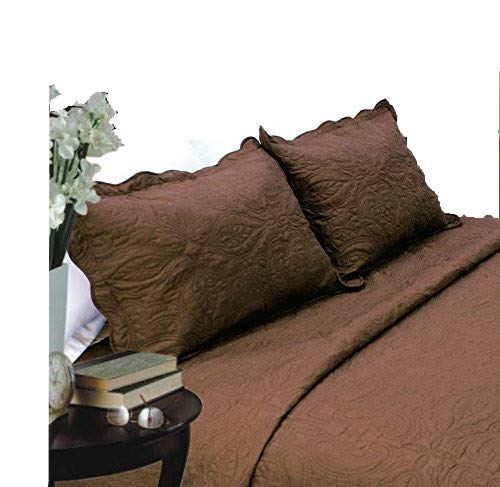 ALL FOR YOU 2-piece embroidered Quilted Pillow shams-standard size-Chocolate/brown color ()