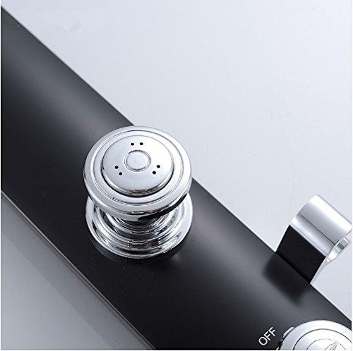 Gowe bathroom wall shower faucet set black wall shower mixer set Waterfall Rain Shower set ABS Panel 2 Massage Jets SPA 4
