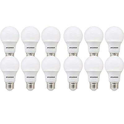 SYLVANIA 74470 60W Equivalent, LED Bulb, A19 Lamp, 12 Pack, Day Light, Energy Saving & Longer Life, Value Line, Medium Base, Efficient 8.5W, 5000K, Piece