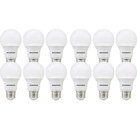 SYLVANIA, 40W Equivalent, LED Light Bulb, A19 Lamp, 12 Pack, Soft White, Energy Saving & Longer Life, Value Line, Medium Base, Efficient 6W, (Sylvania 2700k Led)
