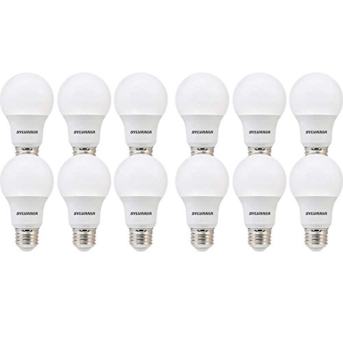 Base Long Life Light Bulb (SYLVANIA, 40W Equivalent, LED Light Bulb, A19 Lamp, 12 Pack, Soft White, Energy Saving & Longer Life, Value Line, Medium Base, Efficient 6W, 2700K)