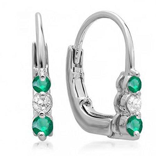 3 Stone Hoop Earrings (10K White Gold Round White Diamond And Emerald Ladies 3 Stone Hoop Earrings)