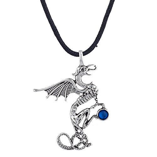 Lux Accessories Silver Tone Dragon Shaped Blue Crystal Gemstone Pendant Necklace ()