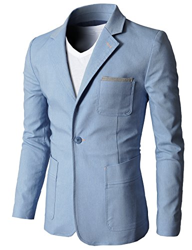 H2H Mens Lightweight Linen Single Button Blazer With Fashion Pocket Sky US 3XL/Asia 4XL (CMOBL01)