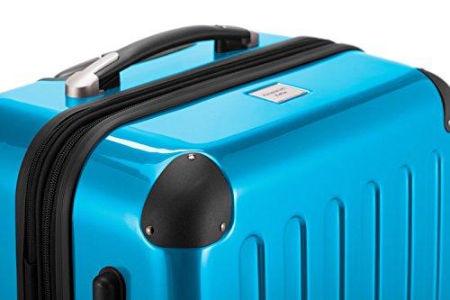 HAUPTSTADTKOFFER® Hartschalen Koffer · 3 Koffergrößen (42 Liter · 74 Liter · 119 Liter) · Hochglanz · Entweder mit Normalen oder TSA Zahlenschloss + DESIGN KOFFERANHÄNGER (SET, Cyan Blau)