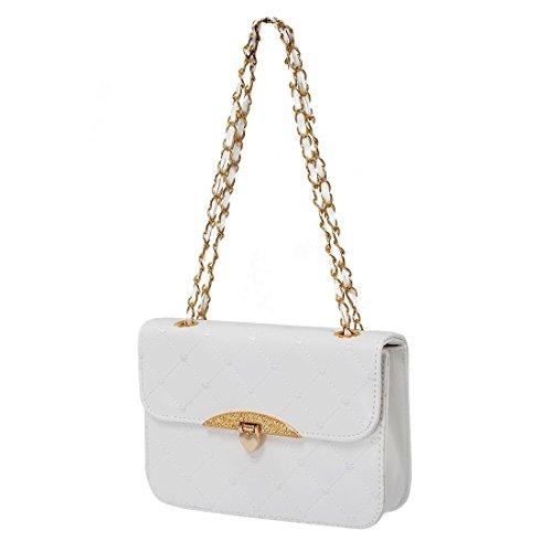 SODIAL(R) Bolso de moda popular de los embragues para mujer Bolso de noche de Corazon de melocoton de cuero de cadena de hombro bolso de mensajero para mujer ¨C Beige Blanco