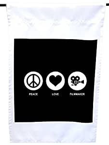 Rikki Knight Peace Love Filmmaker Black Color House or Garden Flag, 12 x 18-Inch Flag Size with 11 x 11-Inch Image