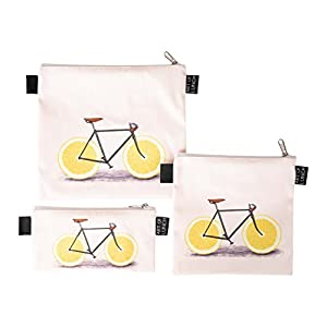 Designer Lunch Bags for Men & Women, Boys & Girls, Insulated, Fashionable, Reusable, Snack & Sandwich Bags w Zipper - Design by Florent Bodart (France) - Zest