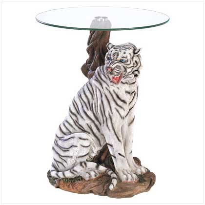 White Tiger Tempered Glass Accent Table by O'NeillGifts