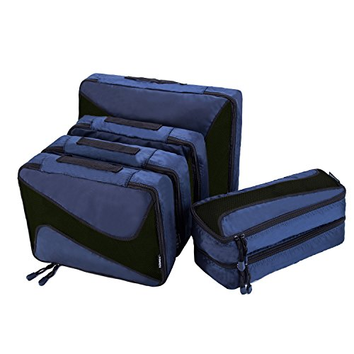 6 Set Packing Cubes - 3 Various Sizes Luggage Packing Organizers For Travel (Navy) (Large 3 Piece Cubes Packing)