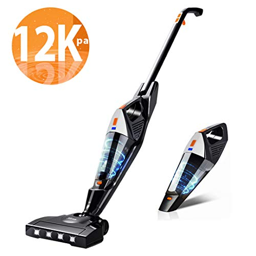 Cordless Vacuum, Hikeren 12000 Pa Powerful Stick Vacuum, 2 in 1 Lightweight Rechargeable Vacuum Cleaner with Lithium Ion Battery for Hardwood Floor Carpet Pet Hair, White (2 Vaccuum 1 In)