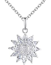 1PC Sunflower Zircon Necklace For Women Silver