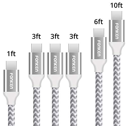 USB Type C Cable, FONKEN USB C Cable [6-Pack, 1FT 3.3FTx3 6.6FT 10FT] USB C to USB A charging Cable Nylon Braided Fast Charge Cord for Compatible Samsung S8/S9, LGG6, Google Pixel, New MacBook (White)