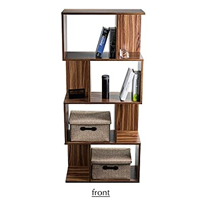 """4-Shelf Bookcase Bookshelf 4 Tier Book Storage Rack Space Saving Freestanding Wood Unit Brown for Hallway Living Room - Max.Load: Each Tier-10kg (22lbs). Dimensions: 62 x 28 x 141cm (22.4 x 11 x 55.5"""") Sturdy construction:Book shelf rack made of durable shaving board board,Strong Practical and Durable - living-room-furniture, living-room, bookcases-bookshelves - 4151yW4pFiL. SS400  -"""