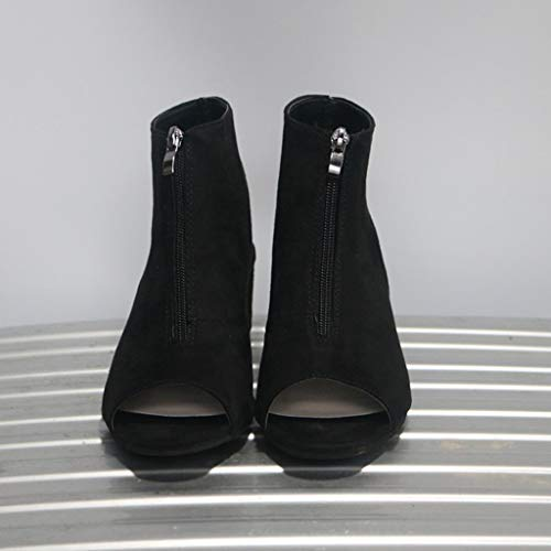 e34e6179e8833 Xinantime Womens Cutout Booties Open Toe Slip On Chunky High Block Heel  Pumps Ankle Boots Sandals Casual Shoes Black