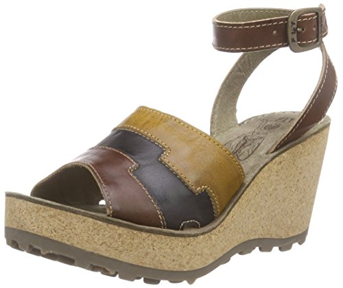 Fly London Donna Gody661fly Sandalo Con Zeppa Multicolor - Mehrfarbig (tan / Black / Mustard 002)