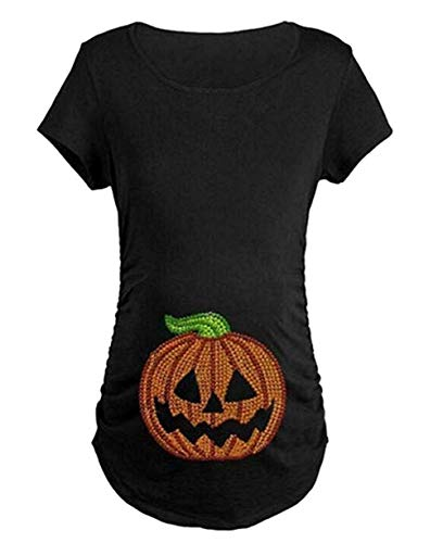 Maternity Halloween Pumpkin T Shirt Funny Pregnancy Tee Expecting Mothers Size M (Black) ()