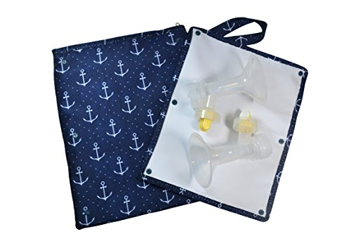 New Sarah Wells Pumparoo for Breast Pump Parts, Wet Dry Bag with Staging Mat (Navy Anchors)
