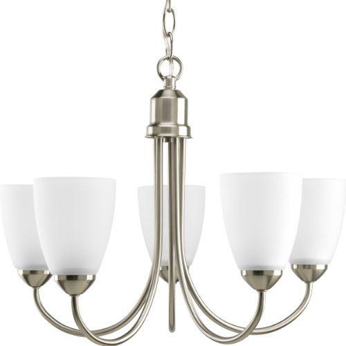 Progress Lighting P4441-09 Gather Collection 5-Light Chandelier, Brushed Nickel