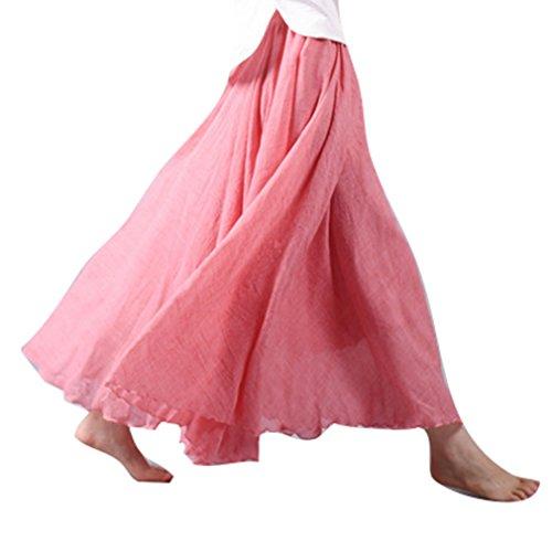 Hibote Femme Longues Jupes Taille Haute Maxi Jupes Coton Lin Double Couche Jupe Doux Confortable 20 Couleurs 85cm 95cm Rouge Vif