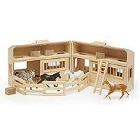 Casa de muñecas estable de caballo de madera Melissa & Doug Fold and Go con asas y caballos de juguete (11 unidades)