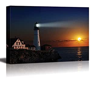 """wall26 Canvas Prints Wall Art - Portland Headlight Light House at Dawn 