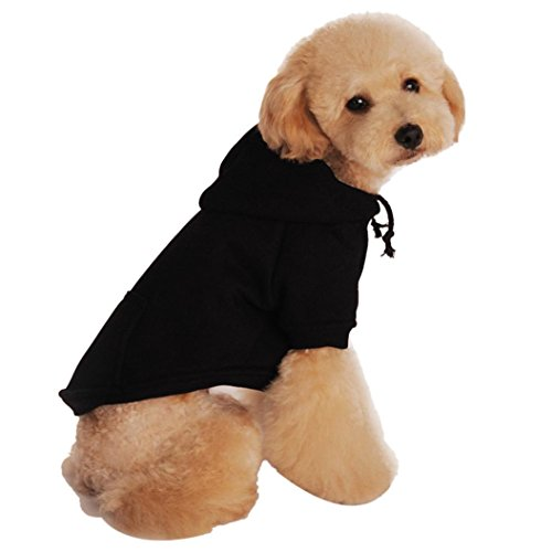 Mosunx Pet Puppy Dog Cat Sweater Costume Apparel Warm Coat Sweatshirts Fleece Clothing (Black, S)