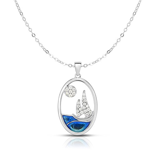 Unique Royal Jewelry Solid Sterling Silver Cubic Zirconia Sailing Boat Adjustable Length Oval Disk Pendant Necklace. (Natural Silver)