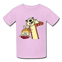Sport Crew Neck Calvin And Hobbes Kids Boys And Girls T-Shirt