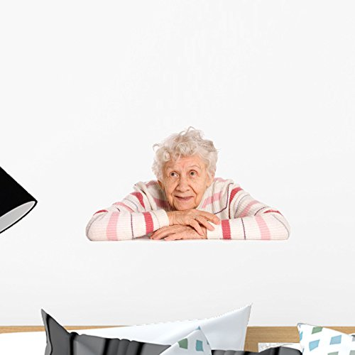 Wallmonkeys FOT-30667307-18 WM200304 Portrait of The Old Woman Isolated on White Peel and Stick Wall Decals (18 in W x 12 in H), Small