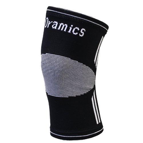 Oramics Sport - Elastische und nahtlose Kniebandage aus hochwertigem Strickgewebe - Farbe: Schwarz - Stabilisiert, schont und wärmt Ihr Knie und Gelenke