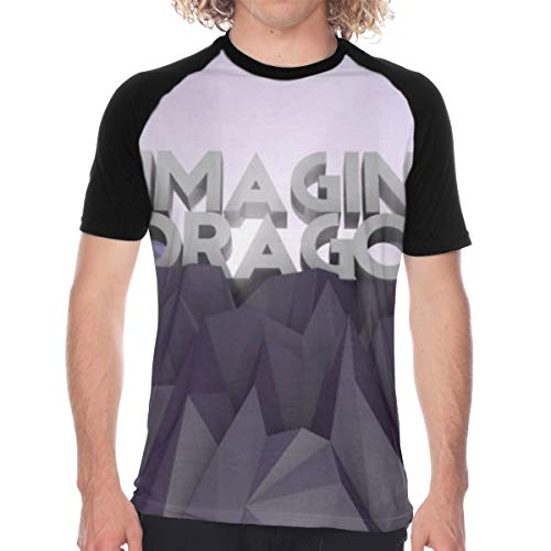 Im_agine Dra_gons Men's Baseball Tee Short Sleeve Black Raglan T-Shirt Jersey