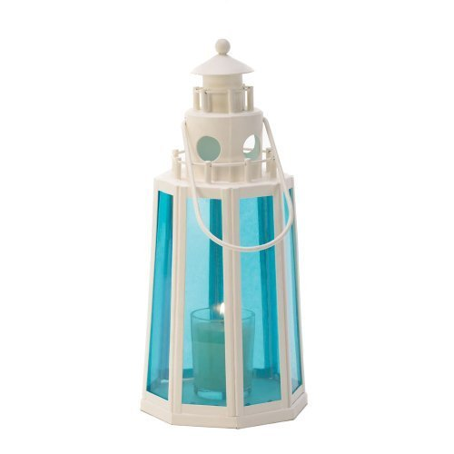 1 X Ocean Blue Lighthouse Candle Lantern by Koolekoo