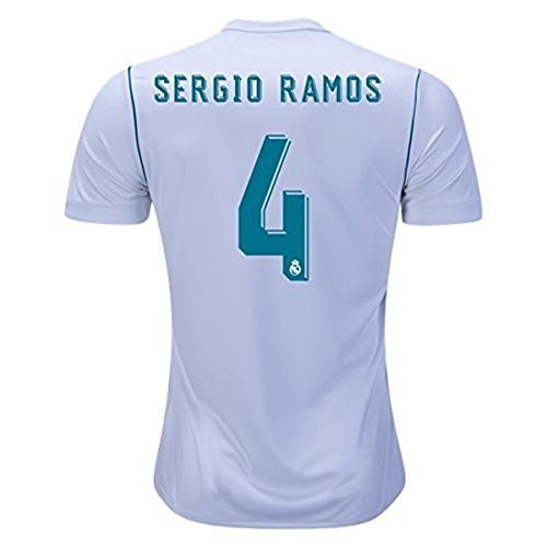 Real Madrid Home #4 SERGIO RAMOS Soccer Jersey 2017-2018 Mens Color White Size S