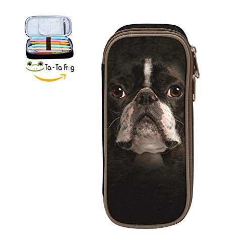 Big Capacity Canvas Pencil Box Portable for School,Print Boston Terrier,Black