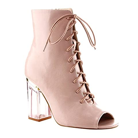 CAPE ROBBIN GD79 Women's Peep Toe Lace Up Lucite Block Heel Ankle Booties, Color:DUSTY ROSE, Size:5.5