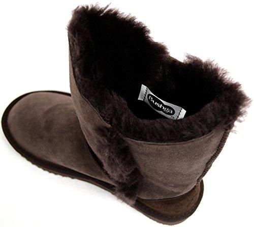Ladies Genuine Sheepskin Mid Calf Short Boot with Button Design by Bushga (Black, Chocolate Brown, Chestnut, Grey, Purple) Chocolate