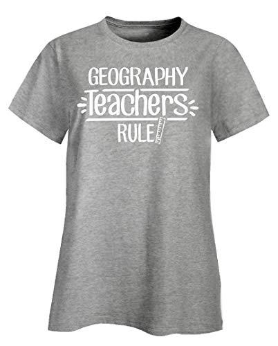 The Stuff Hut Geography Teachers Rule! - Ladies T-Shirt Ash Grey