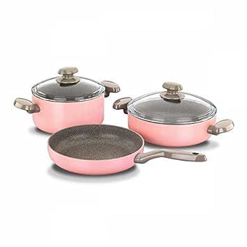Korkmaz Mia Manolya Sartenes & Juego de Batería de Cocina Sartén Granit-Pfanne Granit-Topf Utensilios Cocina Rosa Granito Antihaft-Schicht A1330: Amazon.es: ...