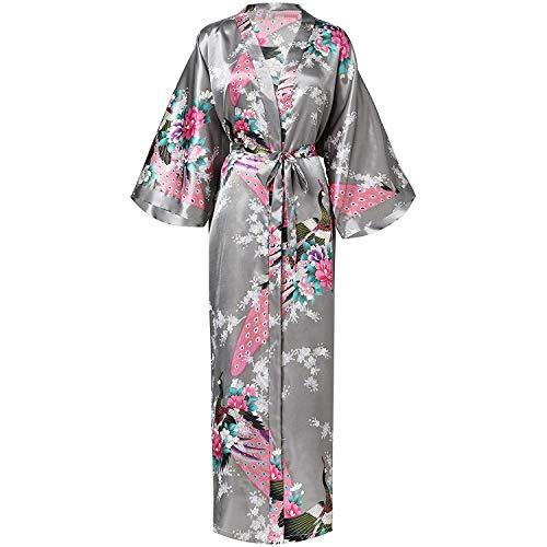 Women Long Robe with Pocket Wedding Bride Bridesmaid Rayon Kimono Bathrobe,Gray,XXL (Beyond Bath Bed And Kelowna)