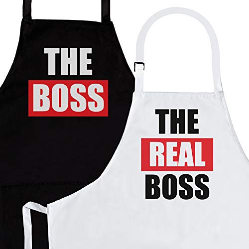 The Boss & Real Boss | 2-Piece Kitchen Apron Set | Matching Engagement Wedding Anniversary Bridal Shower Gift for Bride | Wedding Gifts for The Couple Unique | Newly Married Presents