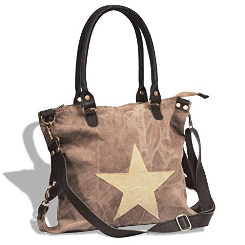 con lady tela vera vidaXL pelle stella Marrone in e beige shopper donna grossa Borsa F8wvq6Z